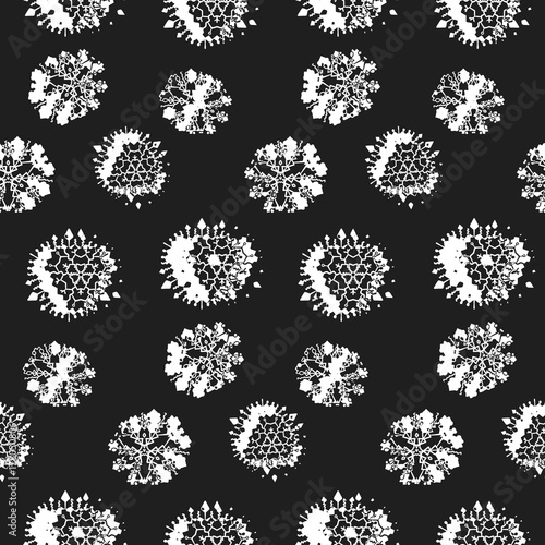 seamless pattern with white asymmetrical chaotic snowflakes on black background fashion falling snow winter texture