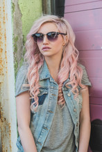 Girl With Pastel Pink And Blon...
