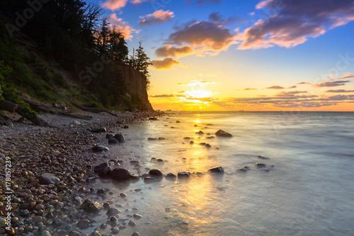 Fototapeta Baltic sea and Cliff of Orlowo at sunrise, Poland obraz na płótnie