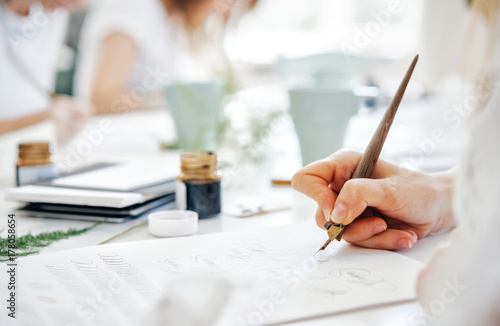 Training of calligraphy Fotobehang