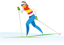 A Young Woman Is A Cross Country Skier Who Runs Fast On The Snow