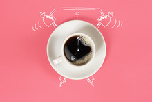Clock. Cup Of Fresh Espresso W...