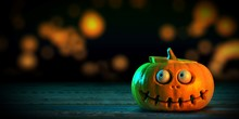 3D Rendering Of Funny Orange Halloween Pumpkin Or Jack O Lantern With Eyeballs Looking To The Left Put On A Wood Ground And Show A Depth Of Field Bokeh In Background.