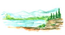 Watercolor Landscape, Mountain...