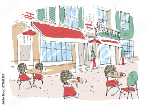 Foto op Canvas Drawn Street cafe Colored drawing of summer sidewalk cafe, coffeehouse or restaurant with tables and chairs standing on city street beside gorgeous antique building with awning. Colorful hand drawn vector illustration.
