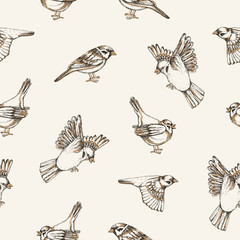 Beautiful seamless pattern with flying and sitting sparrows on light backgrou...