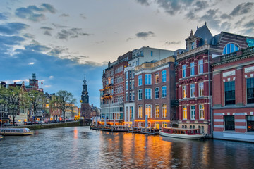 Amsterdam cityscape with sunset in Netherlands