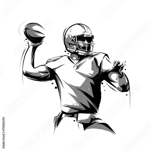 Canvas Print american football player throwing