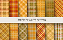 Tartan Seamless Vector Patterns In Brown And Orange Colors. Vector Illustration
