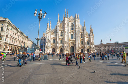 MILAN, ITALY, OCTOBER 13, 2017 - View of famous Milan Cathedral (Duomo di Milano), Italy.
