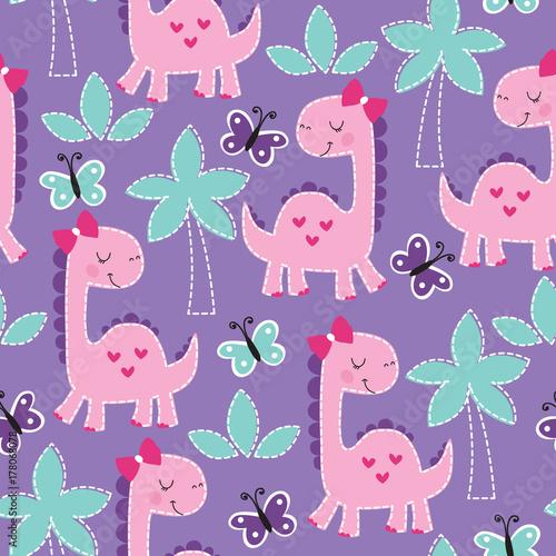Materiał do szycia bezszwowe fioletowy dinozaur ilustracja wektor wzór zwierzę
