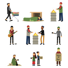 Homeless People, Kids And Vagabonds Begging Money, Needing Help Set Of Cartoon Vector Illustrations