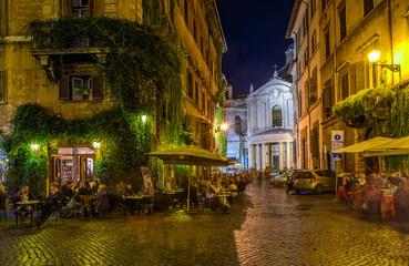 Fototapeta View of old cozy street in Rome, Italy
