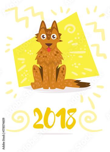 Spoed Fotobehang Halloween Dog. Vector. Cartoon. Isolated