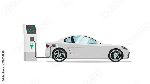 Staande foto Cartoon cars Electric car charging station vector illustration isolated, auto or automobile power charger