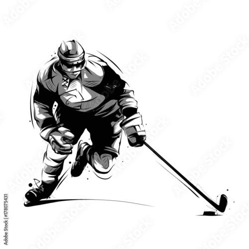ice hockey player skating Wallpaper Mural
