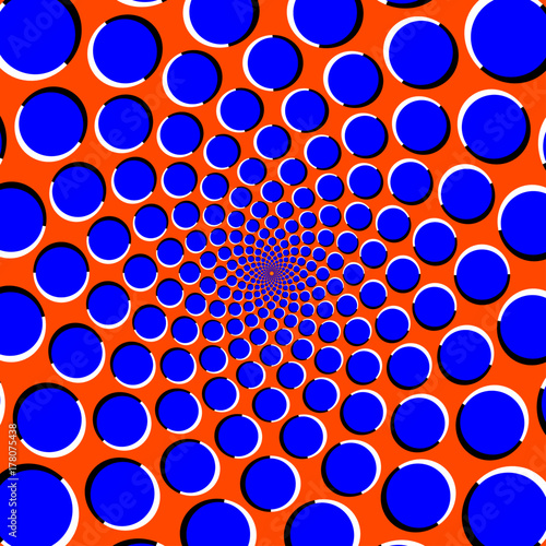 Blue circles on orange background optical illusion