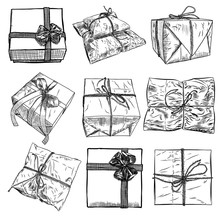 Set Of Gift Box With Ribbon, String And Bow. Hand Drawn Realistic Illustration. Top View Close Up And Side Drawing Of Wrapping Collection Material. Valentine, Black Friday Or Birthday Concept. Vector.