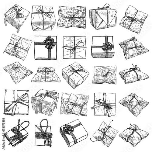 Large Set Of Gift Box Doodle Sketch Wedding Birthday Black Friday