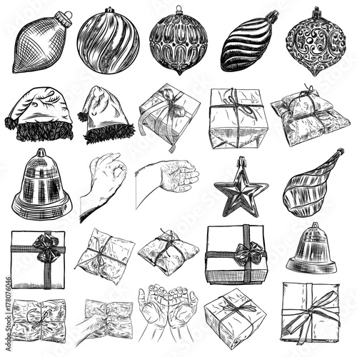af2e8a71 ... Santa Claus hat, mitten, jingle bell, plants, scissors, wrap boxes with  bows, glove, candy. Holiday hand drawn sketch collection DIY designs. Vector .