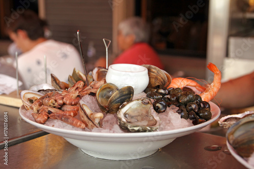 Poster Coquillage seafood plate