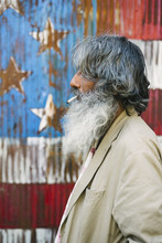 Homeless Man Portrait Against USA Flag