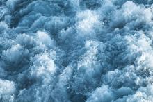 Dark Blue Stormy Ocean Water With Splashes
