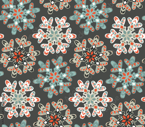 Cotton fabric Seamless pattern with hand drawn snowflakes.