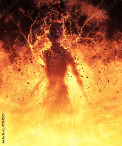 3D Illustration Demon Woman Burns In A Hellfire Wallpaper Mural