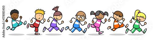 Fotografia, Obraz  Kinder laufen ein Wettrennen beim Sport in Schule