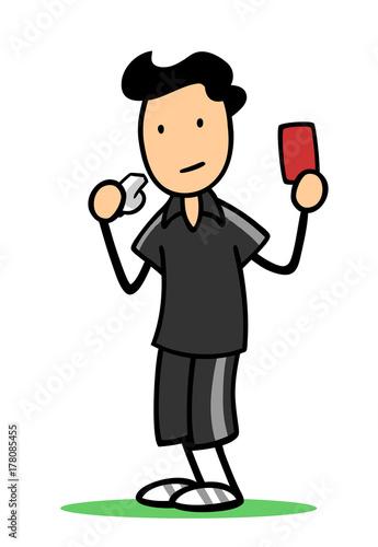Photo Schiedsrichter bei Fußball zeigt rote Karte