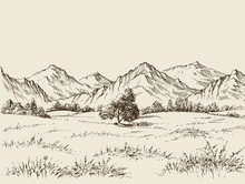 Prairie And Mountains Panorama