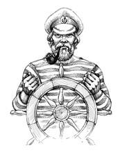 Sailor At Helm Drawing