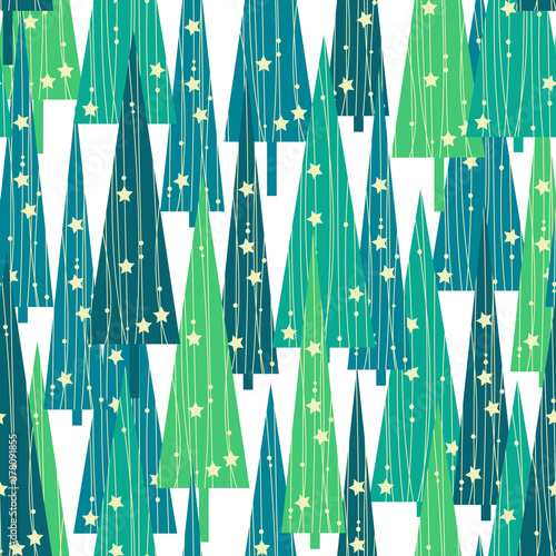 Stoffe zum Nähen Weihnachten-Bäume-Muster