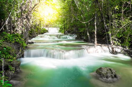 Spoed Foto op Canvas Grijze traf. Huay mae khamin waterfall Beautiful view
