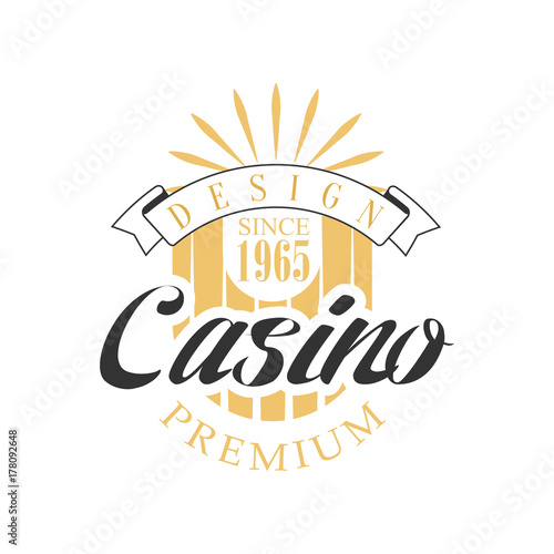 Photo Casino premium logo design, colorful vintage gambling badge or emblem since 1965