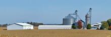 Corn Field With Farm And Grain...