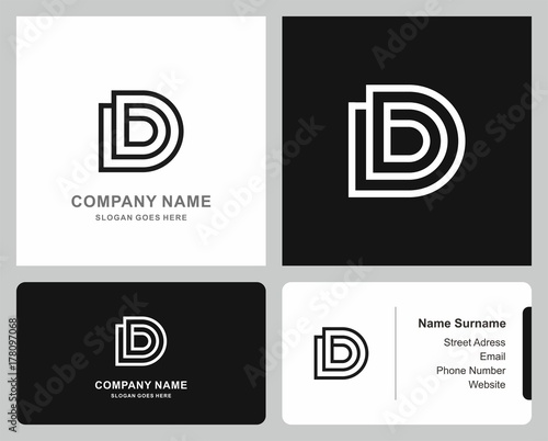 Logo Business Card Monogram Letter D Square Circle Architecture Interior Company Stock Vector Logo Design Template Buy This Stock Vector And Explore Similar Vectors At Adobe Stock Adobe Stock