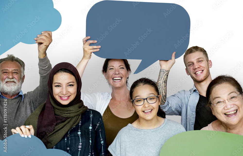 Fototapety, obrazy: Group of diversity people holding speech bubble sign