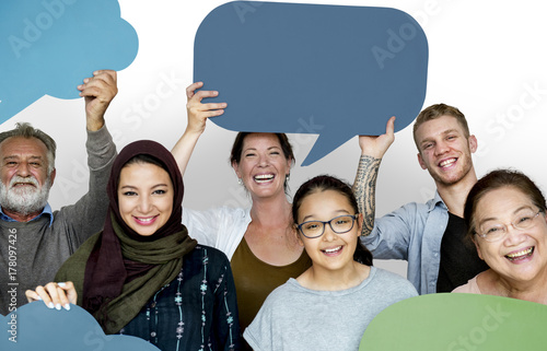 Group of diversity people holding speech bubble sign
