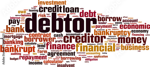 Fotografiet Debtor word cloud