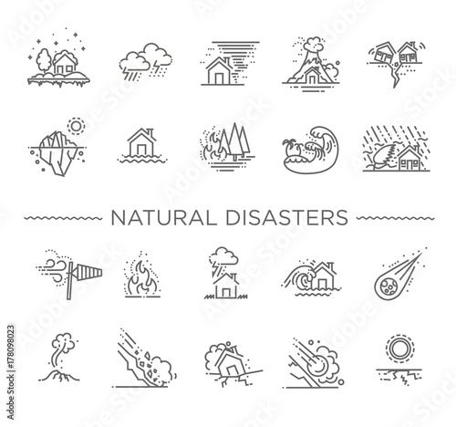 Natural Disaster, Vector illustration of thin line icons Fotobehang