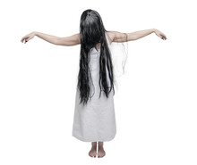 Mystical Ghost Woman In White Shirt With Long Black Hair