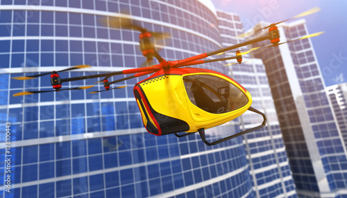 Photo  Electric Passenger Drone. 3D illustration