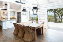 Dining Room In Modern Design Log Cabin