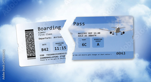 Fotografía  Flight cancelled concept image with ripped flight ticket - The image is totally
