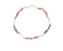 Multi-colored Tumbled Moonstone Chips Necklace With Clasp, Isolated On White Background