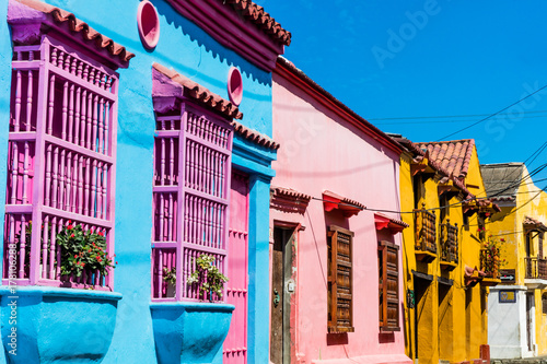 Fotobehang Zuid-Amerika land Colorful streets of Getsemani aera of Cartagena de los indias Bolivar in Colombia South America