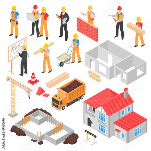 Construction Isometric Set Canvas Print