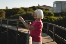 Senior Woman Clicking Pictures On The Bridge